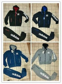 four black-blue-and-grey Adidas track suit collage