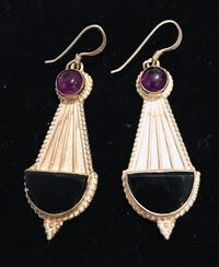 Beautiful onyx, amethyst and sterling earrings Silver Spring, 20904