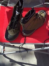 Black-and-brown leather combat boots