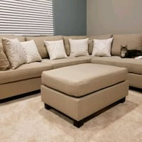 Brand New Tan Linen Sectional Sofa Couch + Ottoman  Silver Spring, 20902