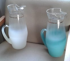 Frosted vintage glass pitchers (white and blue)