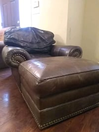 genuine leather armchair with ottoman