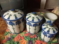 four blue floral white ceramic canisters San Antonio, 78227