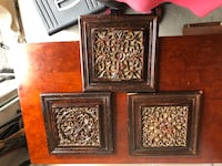three square brown wooden floral ornate wall decors Universal City, 78148