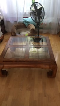 rectangular brown wooden framed glass top coffee table Surrey, V3W 8P7
