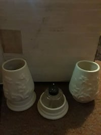 two white ceramic candle holders Springdale