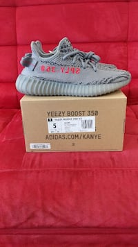 pair of grey-and-black Adidas Yeezy boost 350 V2 with box