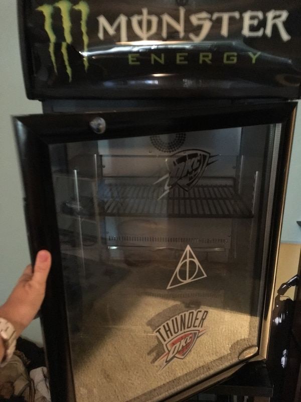 Monster energy drink mini fridge with matching stand