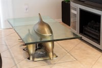 brown wooden base glass top table Fort Lauderdale