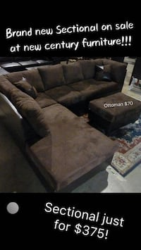 New 2 pcs BROWN sectional with pillows  Norcross