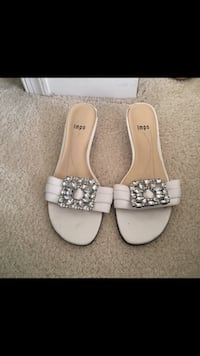 Pair of white leather open-toe sandals Bear, 19701