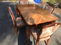 """Dining Table & Chairs- Made in Russia- Solid Wood 55""""x36"""" w/ leaf 95"""" Silver Spring, 20906"""