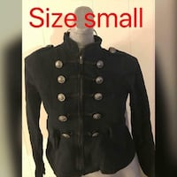 black double breasted zip-up-up jacket