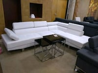 White Sectional Sofa W/ Adjustable Headrest Phoenix, 85018