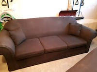 brown fabric 3-seat sofa. 92 inches wide full size