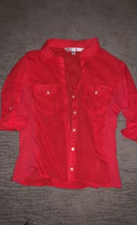 Cute sz Small red button up collared blouse Edmonton, T6W 0S2