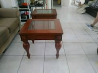 End tables - pair - wood with glass insert Venice, 34293