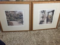 """Pair of reproductions by alan blaustein's """"benches"""" hand painted photography printed on watercolor paper and painted Lombard, 60148"""
