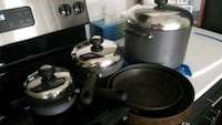 grey and black cookware