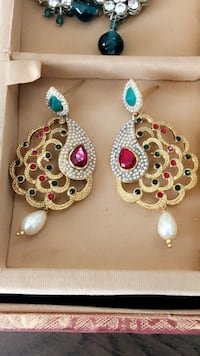 Gold-colored white and teal gemstone drop earrings Victor, 14425
