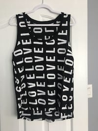 black and white Love print tank top