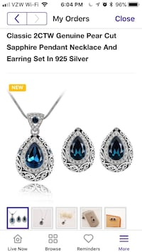 2 CTW Sapphire in Sterling Silver necklace and earring set new