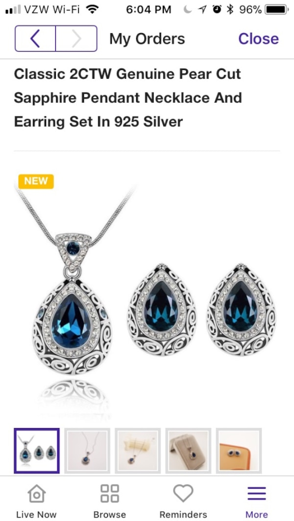 2 CTW Sapphire in Sterling Silver necklace and earring set new 9a9991cf-2e2d-4429-9dc9-6f0490ee9231