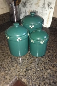 Three green ceramic canisters Vancouver, V5P 1X5