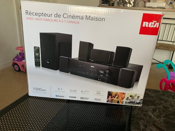 black RCA home theater system box