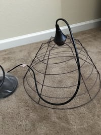 New industrial up-cycled wire basket hanging lamp