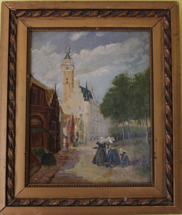 ANTIQUE ORIGINAL OIL PAINTING ON BOARD LISTED ARTIST CHARLES DUMONT (1880 1952)