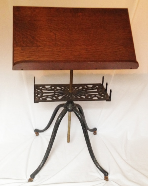 "Antique Ornate Cast Iron & Wood Music Stand on Wheels Adjustable Height 30""-41½"" 21185583-4927-456d-b832-f0e3946cceeb"