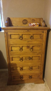 Pine wood Queen size head board and shelf