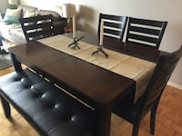 rectangular brown wooden table with chairs dining set Toronto, M2N 5X8
