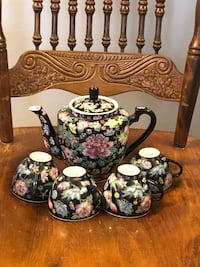 Antique Hand Painted Plate & Teapot & Cups
