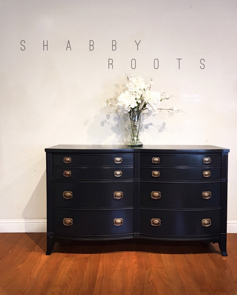 Beautiful vintage dresser chest of drawers dark charcoal blue solid wood