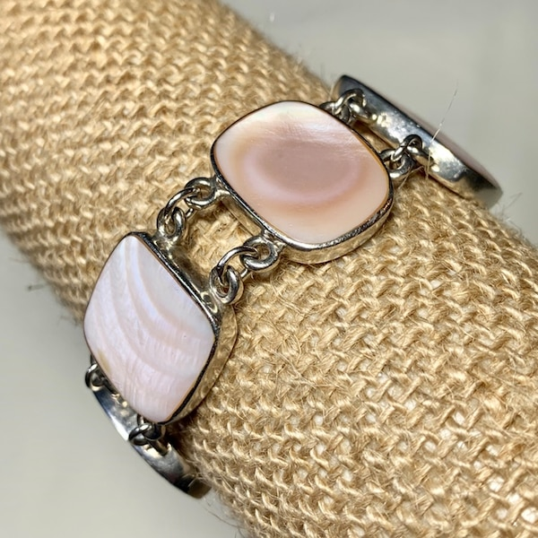 Vintage Sterling Silver Mother of Pearl Bracelet 8f53dc3c-8945-4524-a9ea-007406e5b75e