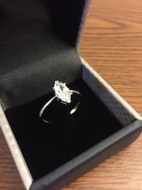 1.0 ct MARQUISE Cut Lab Diamond| 18k WHITE GOLD OVER SILVER| NEW | SIZE 7.5|WITH GIFT BOX|  Alexandria, 22312