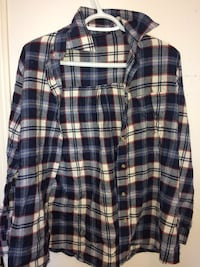 white, gray, black, blue, and red plaid button up collared long sleeve sport shirt Whitchurch-Stouffville, L4A 0P1