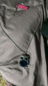 Betsy Johnson -Blue Glass Crystal Owl pendant long