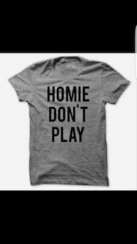 gray and black homie don't play print  shirt Winfield, 60190