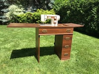 Sewing machine (Simpsons) in expandable sewing table. TORONTO