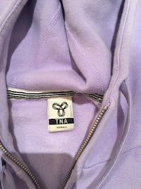 size xsmall purple TNA zip-up pullover hoodie