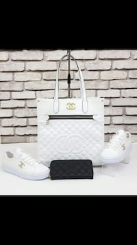 tote bag in pelle trapuntata bianca e sneakers basse Monteviale, 36050