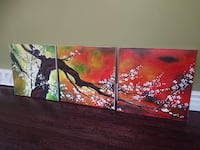 tree with white flowers 3-panel wall art Toronto, M8W 1X2