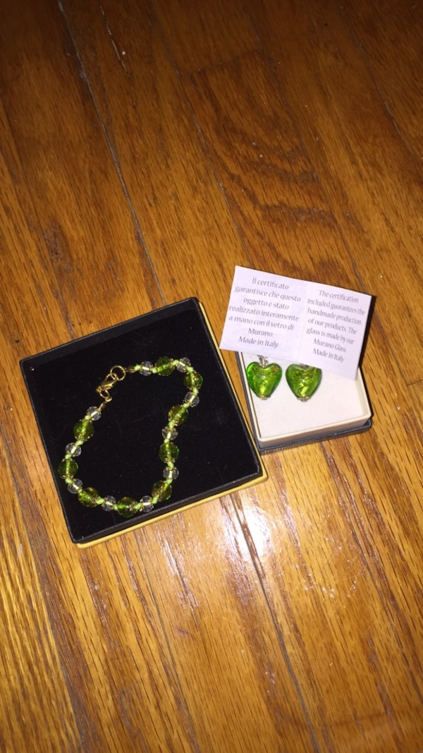 Matching earrings and bracelet made in Italy
