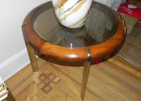 Brass and wooden round side table with beveled edge glass top   Holtsville