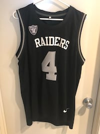 Raiders Derek Carr #4 sleeveless jersey. Name and numbers are stitched. (Size XL) Carlsbad, 92008
