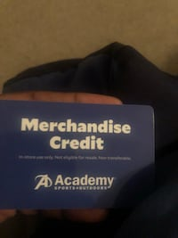 Academy gift card.  It has $248 on it. I'm asking for $200 for it.  Houston, 77082