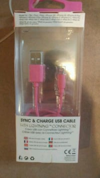 pink Sync & Charge USB cable with pack St. Catharines, L2S 2P6